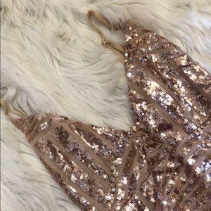 Sequin rose gold dress